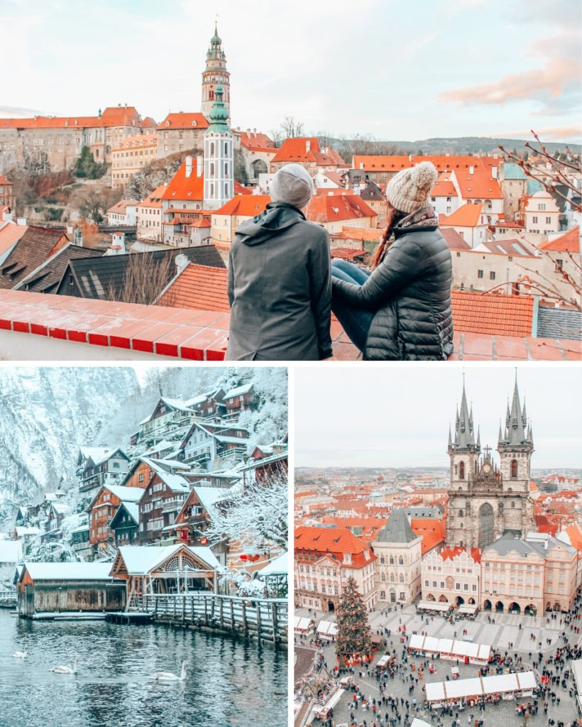 Welcome to Central Europe, home of Bohemia, Alps, and some truly beautiful places to explore! Our Central Europe itinerary focuses on Austria and the Czech Republic. Clockwise from top: Cesky Krumlov, Prague, Hallstatt.