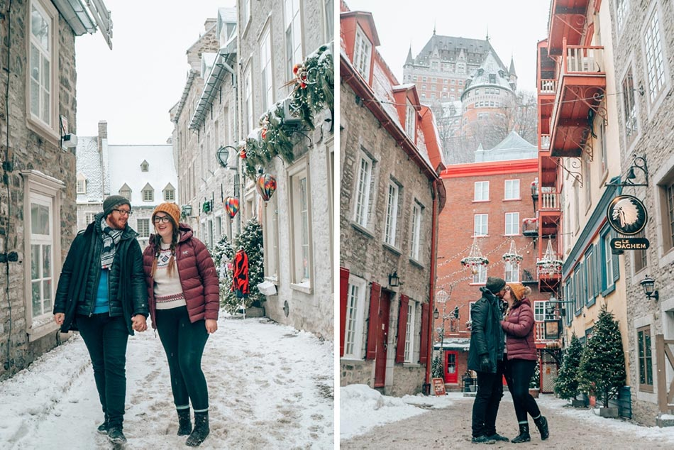 Lia and Jeremy cozying up in Quebec City in the winter.