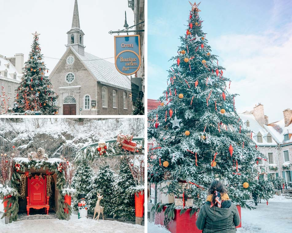 Christmas decorations in Quebec City, Canada in the winter.