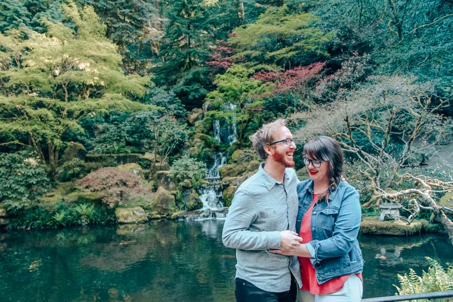 Lia and Jeremy in the Japanese Rose Gardens in Portland, Oregon.