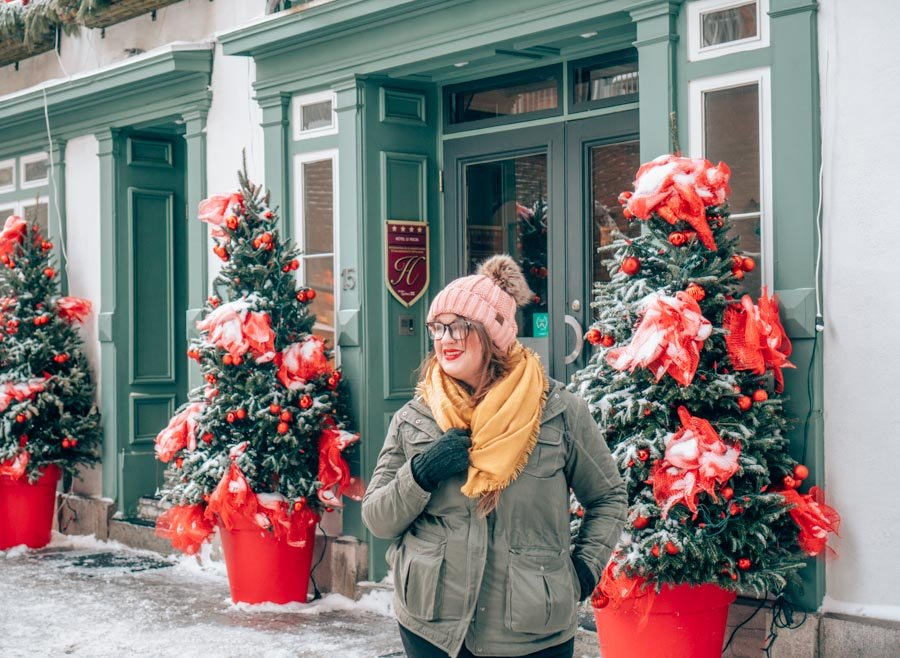 Lia bundled up in warm clothing in Quebec City in the winter.