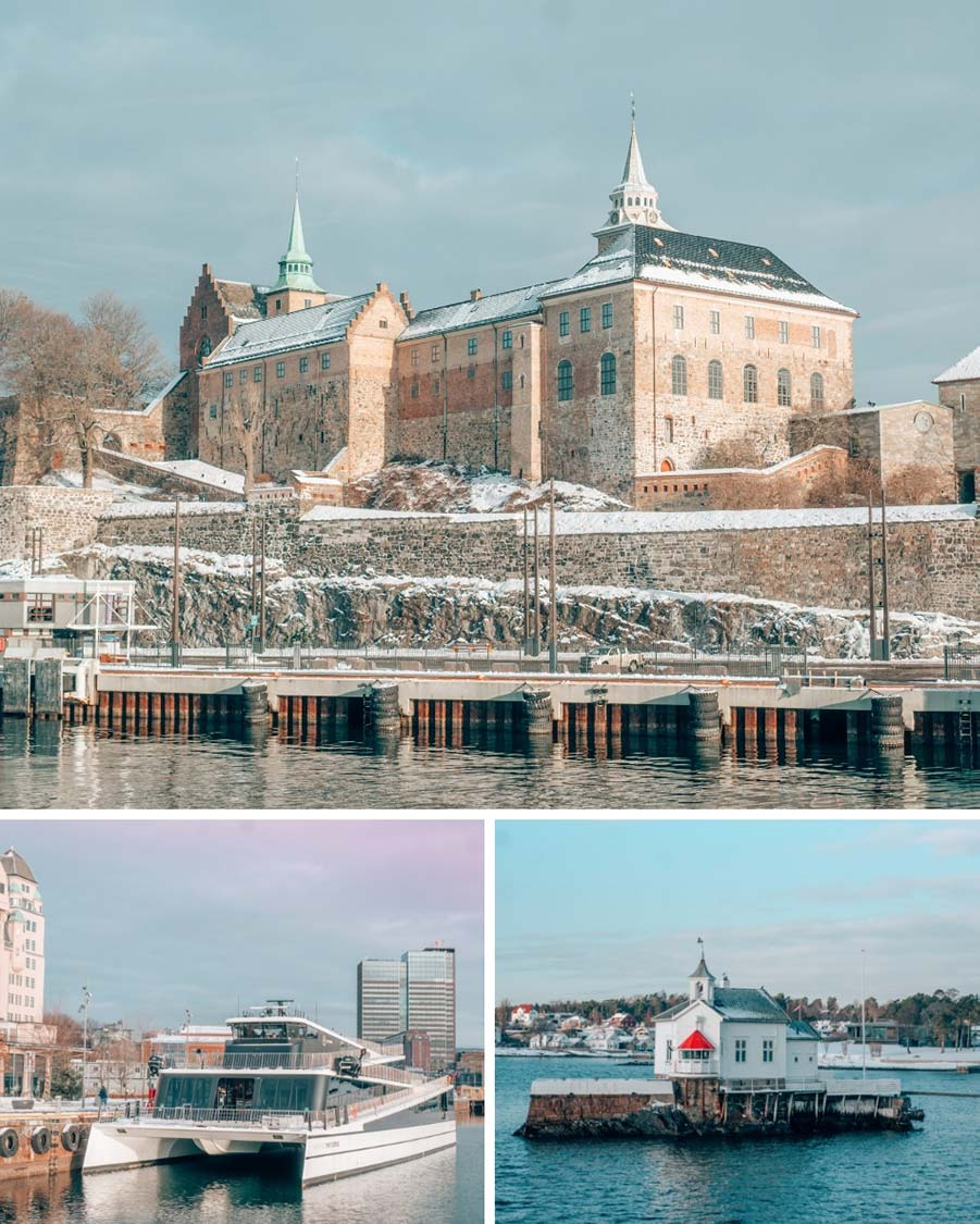 Views from our Oslo Fjord cruise. Clockwise from the top: Akershus Fortress (built in 1299), an adorable little lighthouse, and the emissions-free Visions of the Fjord cruise ship.