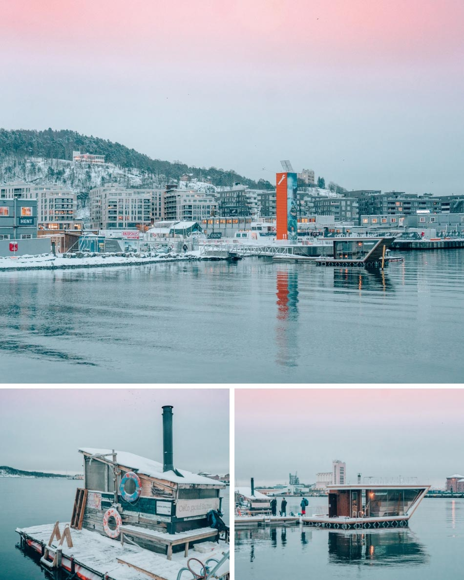 Oslo Fjord Sauna is located smack dab in the enter of the Oslo Fjord. Cycling between the sauna and the cold water is one of the best ways to adjust to Norway in the winter!