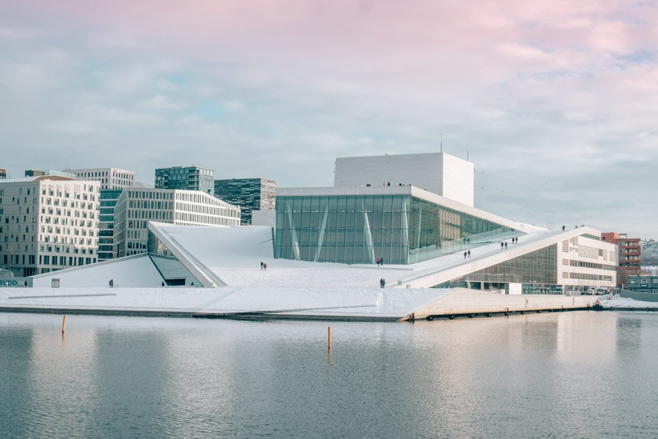 The Oslo Opera House was designed to look like a glacier rising from the fjord. In the winter, it's covered with snow.