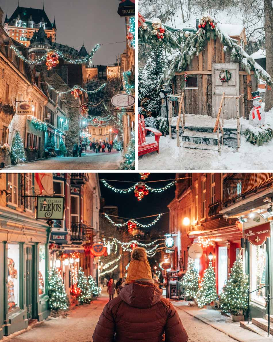 Views of Old Quebec City in the winter. Clockwise from the top: the Chateau Frontenac towering over the Quarter Petit Champlain; Pere Noel's cabin; and the Rue de Champlain lit up at night.