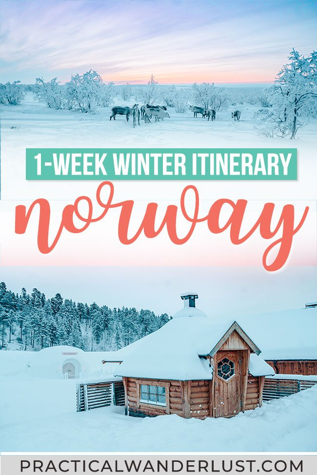 An epic 7 day Norway winter itinerary! Visit Oslo and Alta and see reindeer, the Northern Lights, an ice hotel, fjords, and the Arctic tundra. You can also adjust to fit Tromso, Lofoten, and Bergen into your travel itinerary. Here's the perfect 1 week Norway winter itinerary. #Norway #Winter #Travel