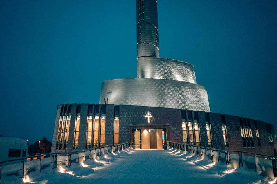 The Cathedral of the Northern Lights in Alta, Norway on a winter's night.
