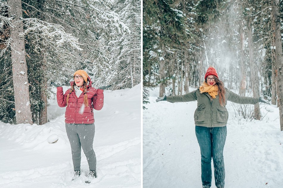Lia frolicking in the snow in Banff in the winter.