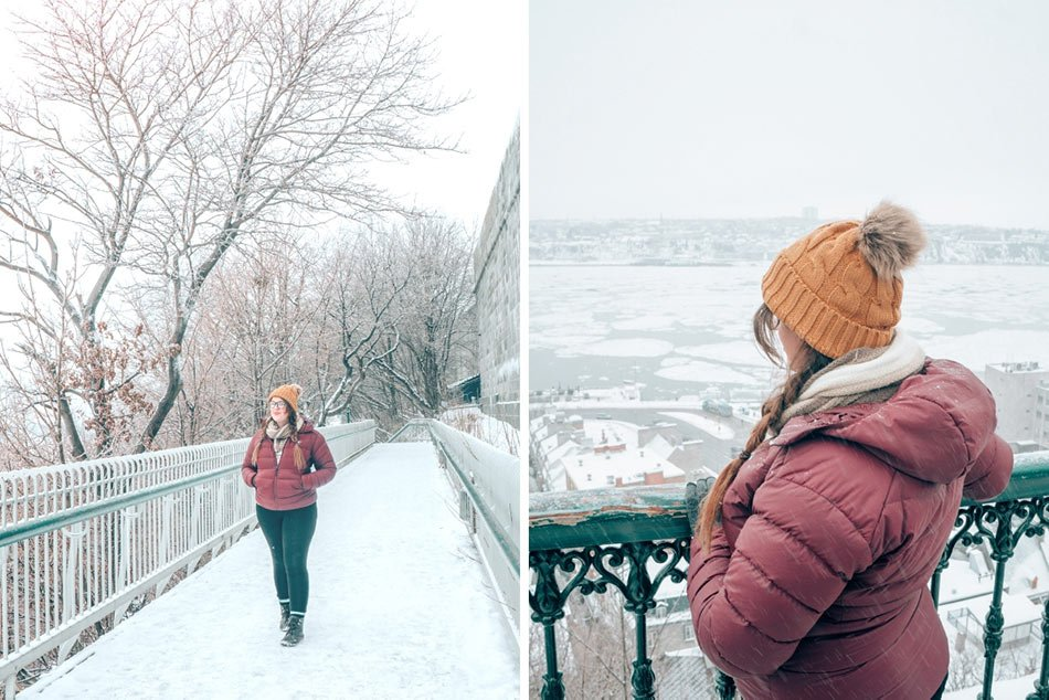 Lia walking through ice and snow in Quebec City, Canada in the winter.