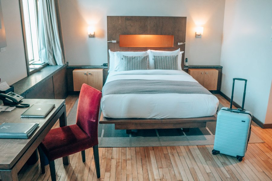 Hotel 71 in Quebec City, Canada, with an Away suitcase.