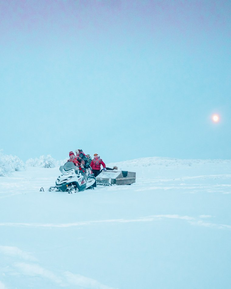Moon rising above the Arctic Tundra in Finnmark, Norway in the winter.