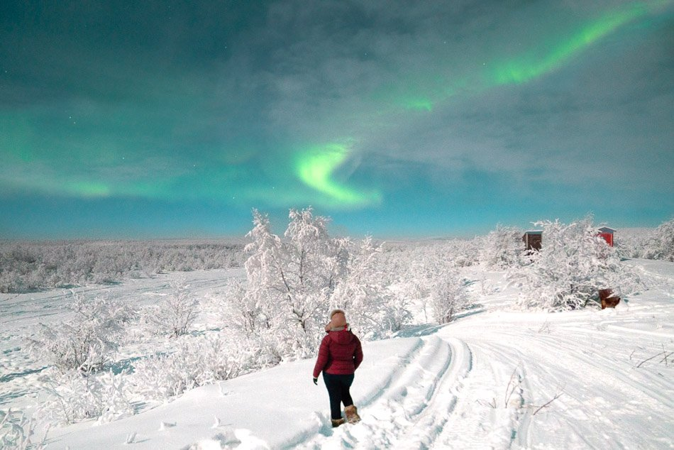 Standing underneath the Northern Lights in Finnmark, Norway in the winter.