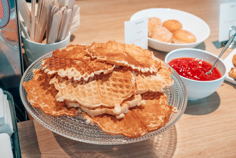Heart-shaped Vaflers, a traditional Norwegian waffle snack.