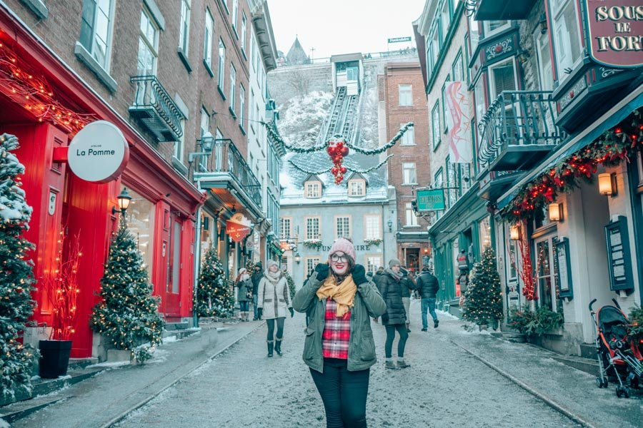 Lia in Quebec City in the winter.