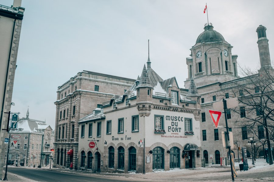 The Musee du Fort in Quebec City in the winter.