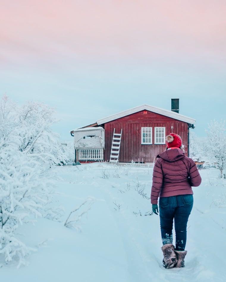 An indigenous Sami Reindeer Herding cabin deep in Norway's arctic tundra.