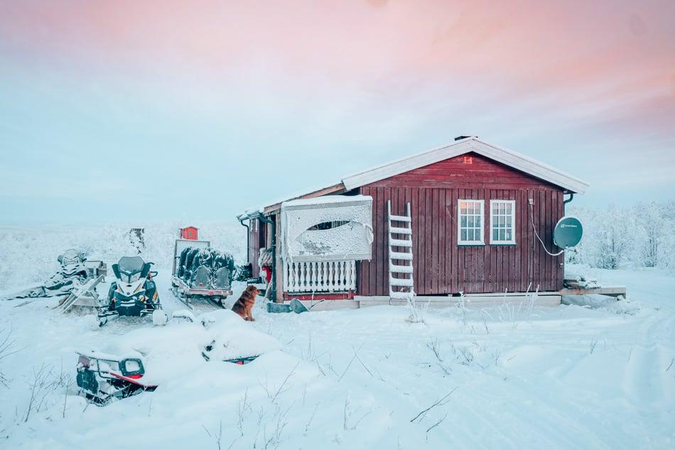 A Sami reindeer herding cabin deep in the arctic tundra.