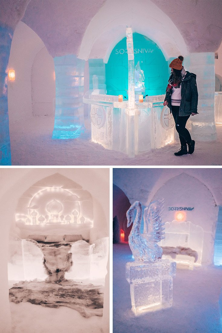 The inside of Sorrisniva Igloo hotel in Alta Norway. Clockwise from top: the ice bar, my Aladdin room, and an ice sculpture and snow bench.