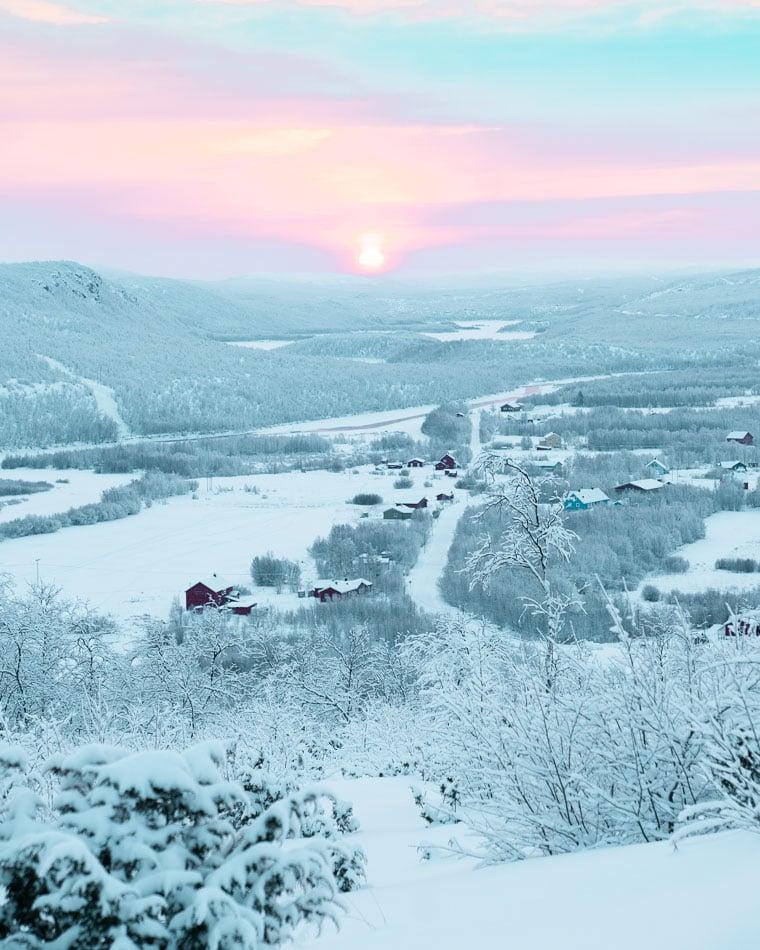 Sunrise in Alta, Norway in the winter.