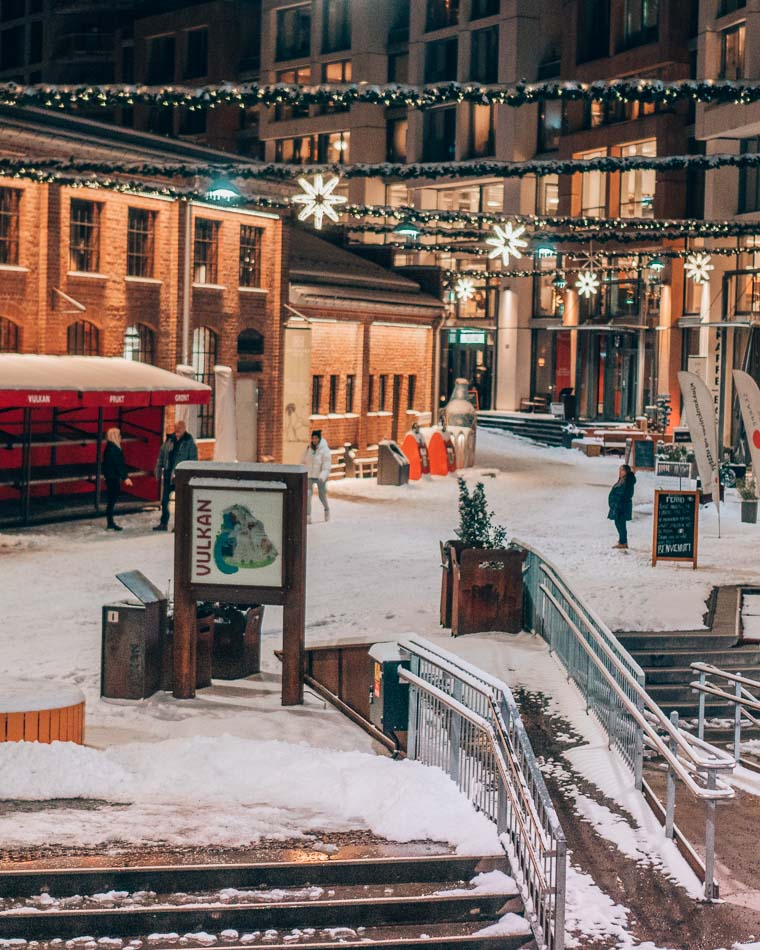 Wandering the snowy streets of Vulkan in Oslo, Norway on a winter's night.