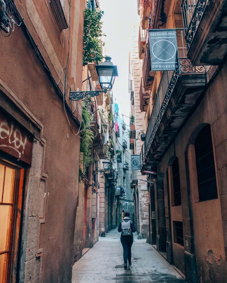 Wandering through Barcelona's Gothic Quarter, Barcelona, Spain.