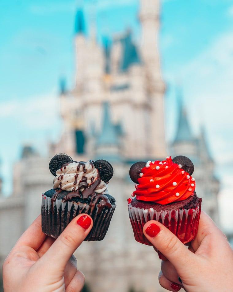 Matching Minnie & Mickey cupcakes at Magic Kingdom in Disney World, Orlando, Florida.