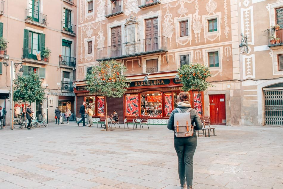 The Placa del Pi in Barcelona, Spain.