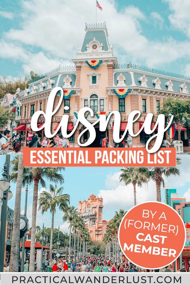 What to pack for Disney World and Disneyland: the ultimate Disney packing list for adults, created by a former Cast Member. Includes what NOT to pack, snacks, essential gear, and what to bring to maximize Disney fun while staying on a budget! #Disney #travel