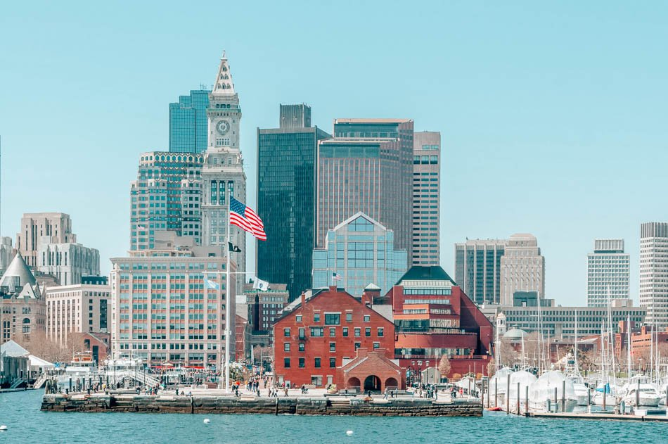 Boston, Massachusetts harbor and marina on a sunny day.