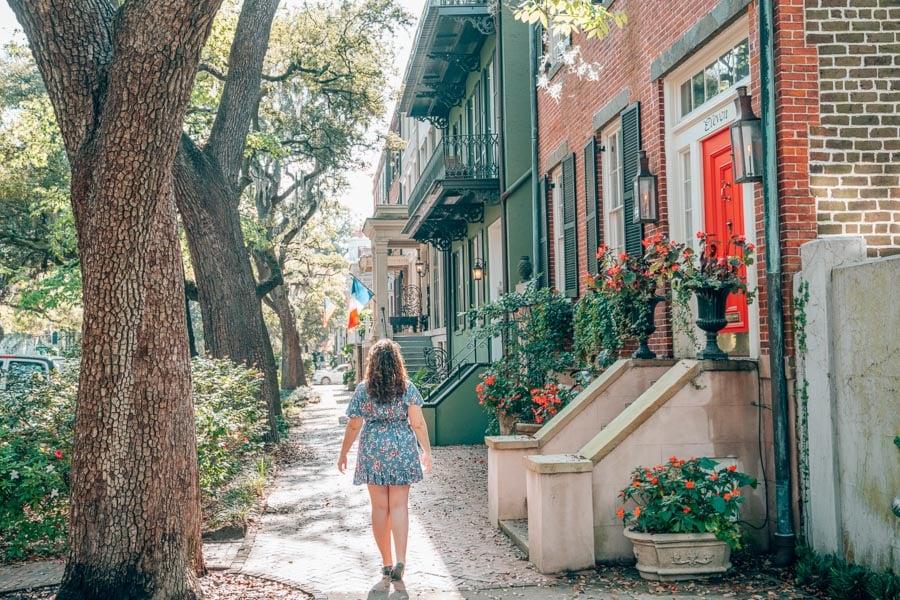 Lia exploring Jones Street in Savannah, Georgia.