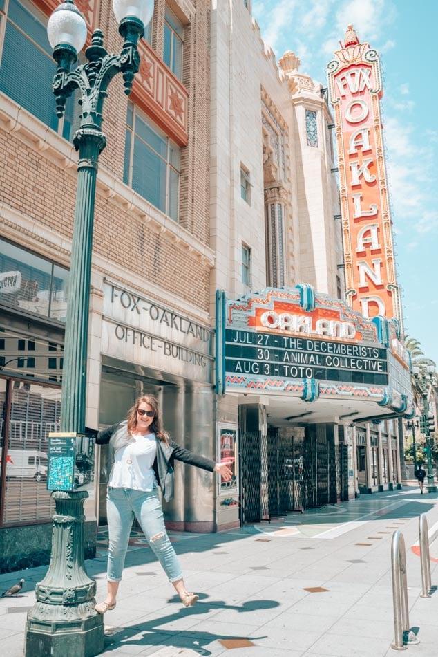 Singin' in the sunshine in front of the Fox Theatre in Oakland, California!