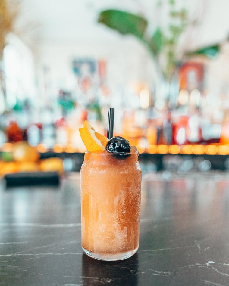 Teeny tiny cocktail on the bar at The Husk in Savannah Georgia