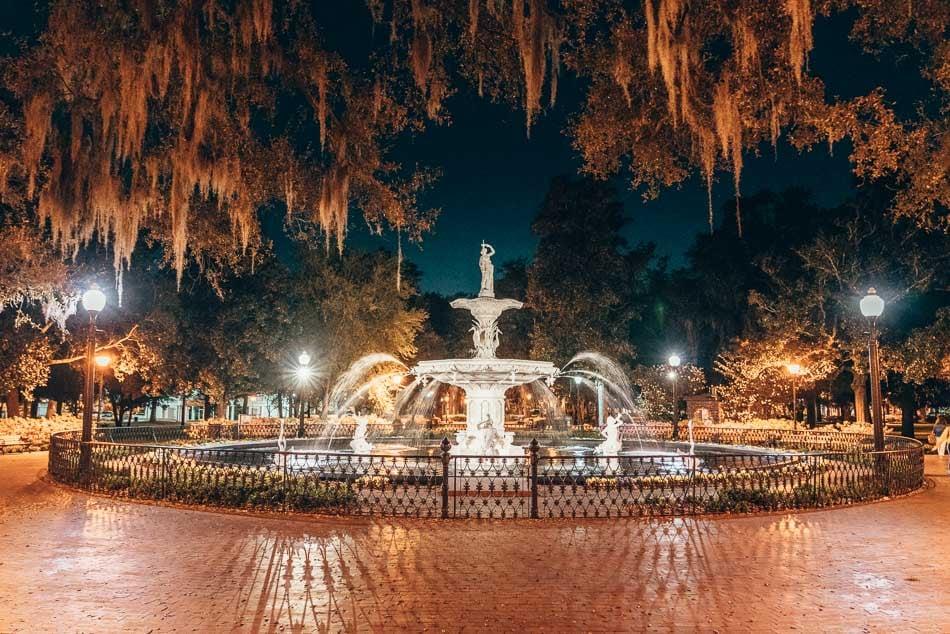 Forsyth Fountain in Savannah Georgia on a moonlit evening