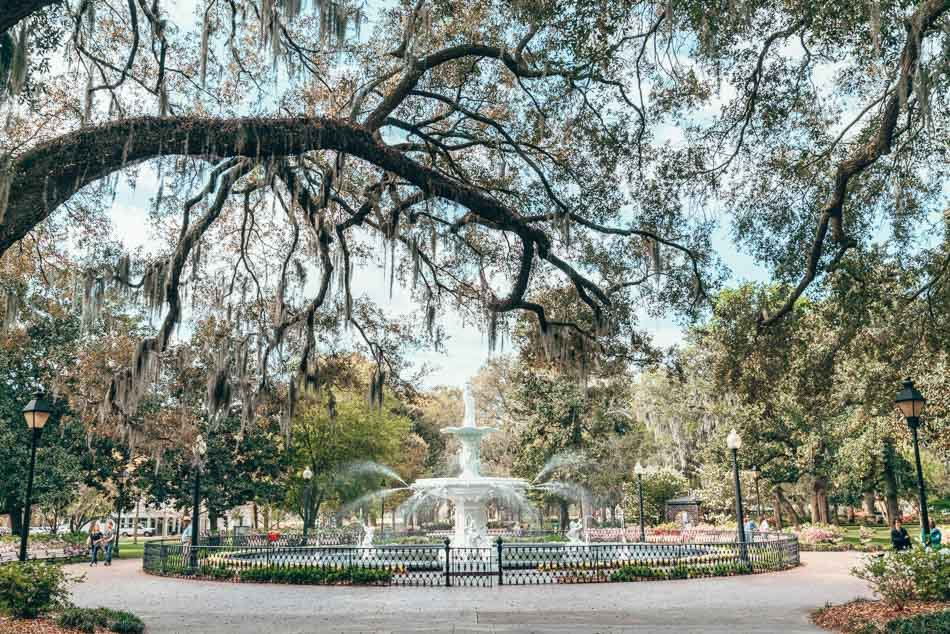 Forsyth Fountain in Savannah Georgia under trees dripping with Spanish Moss