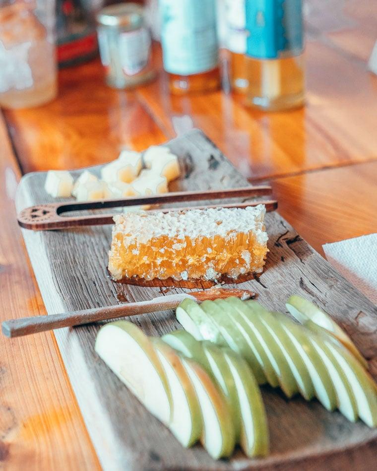 Closeup of honeycomb and apple slices at Savannah Bee Company tasting room and samples in Savannah, Georgia.