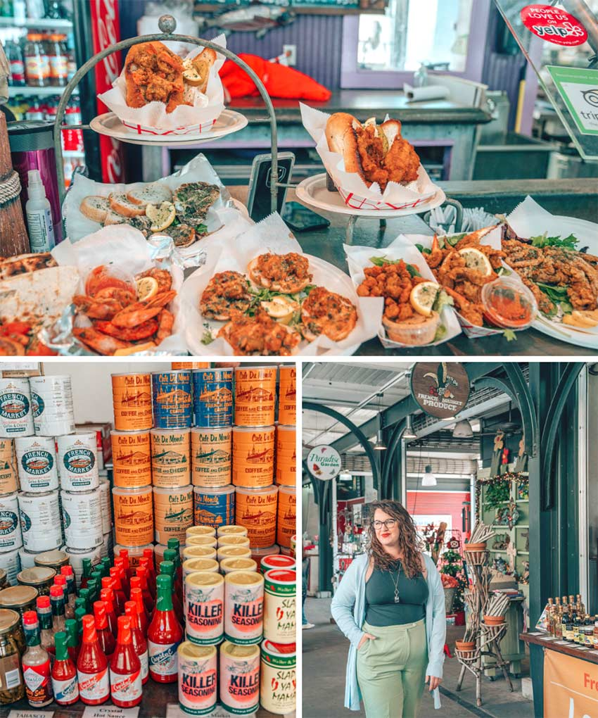 Food, souvenirs and art at the French Market in New Orleans, Louisiana.