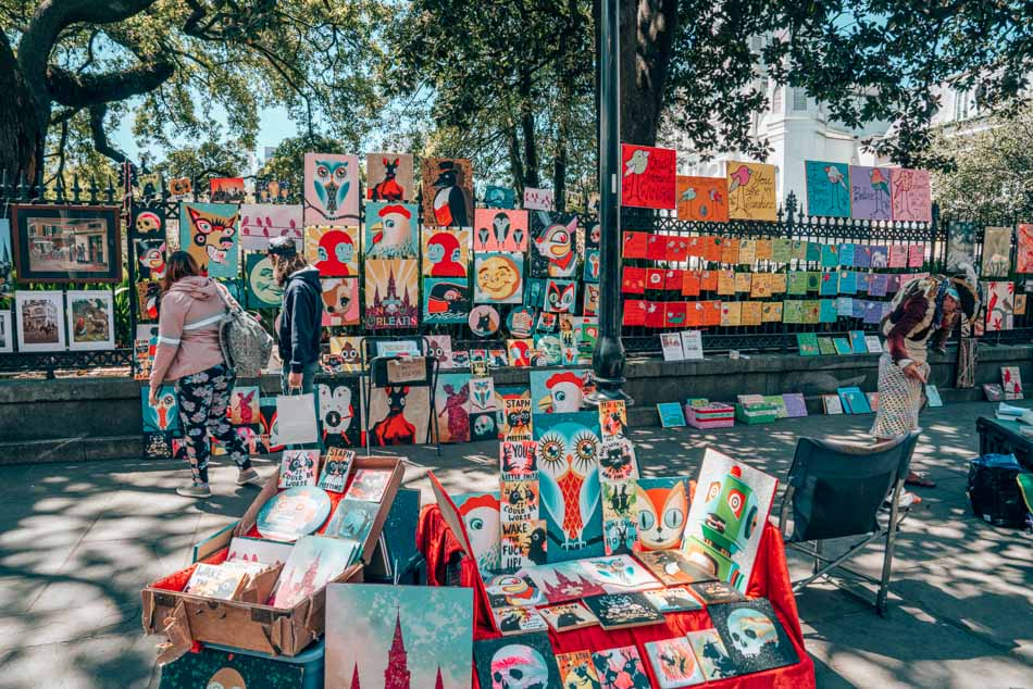 Colorful works of art in New Orleans, Louisiana.