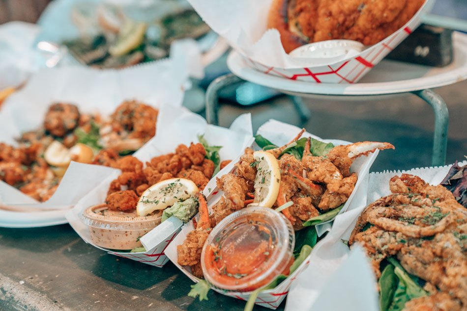 Fried seafood in New Orleans, Louisiana.