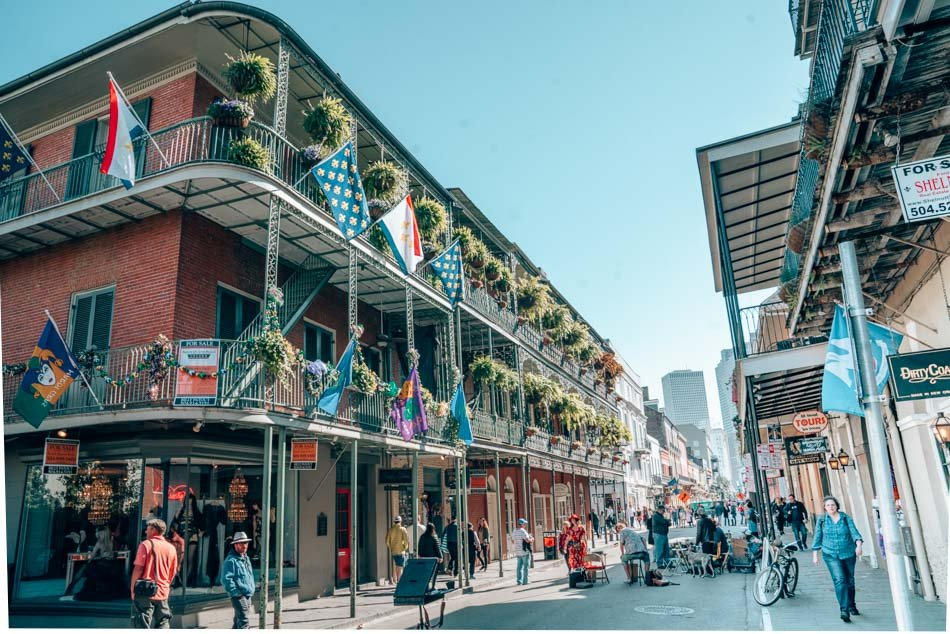 A decorated facade in New Orleans' French Quarter.