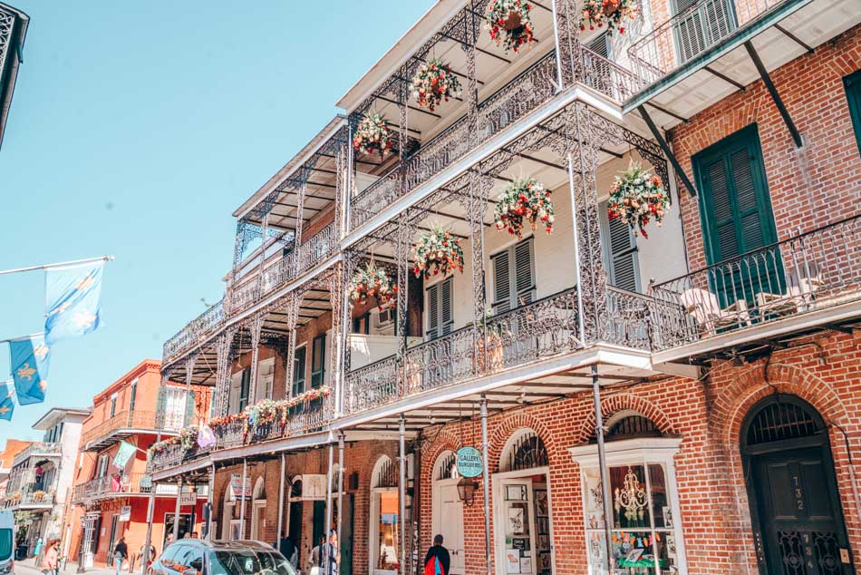 A stunning facade in New Orlean's French Quarter neighborhood.