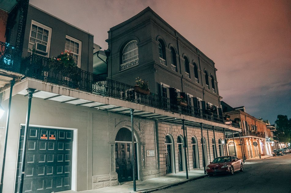 The LaLaurie house, the most haunted house in New Orleans, at night.