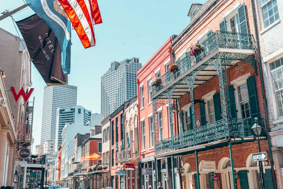 Flags waving in the French Quarter in New Orleans, Louisiana.