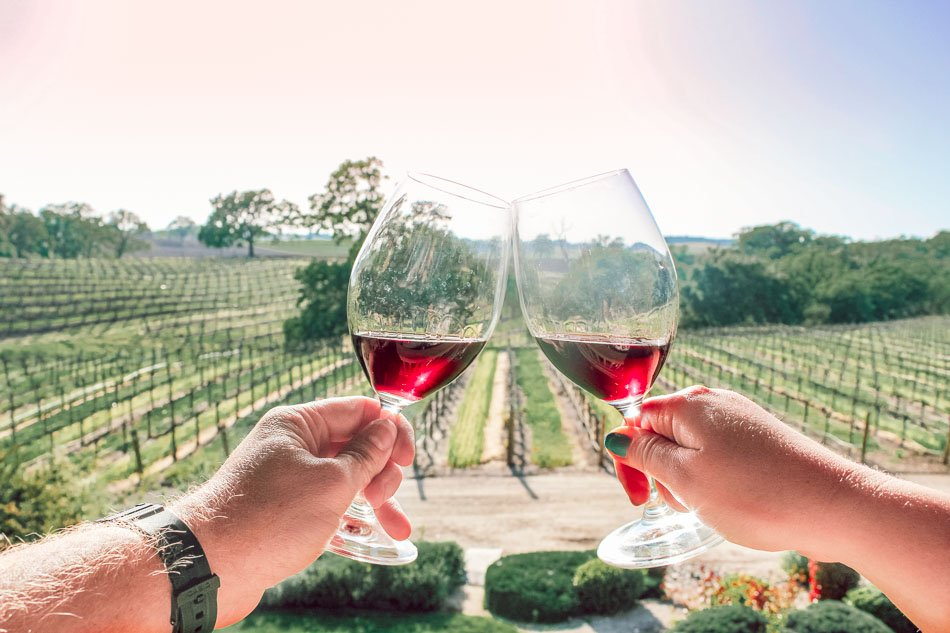 Wine tasting at a vineyard in Paso Robles, California