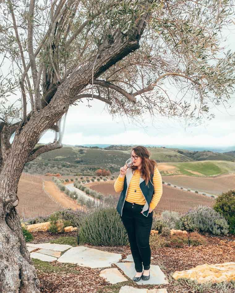 Drinking wine at Dauo Vineyards in Paso Robles, California.
