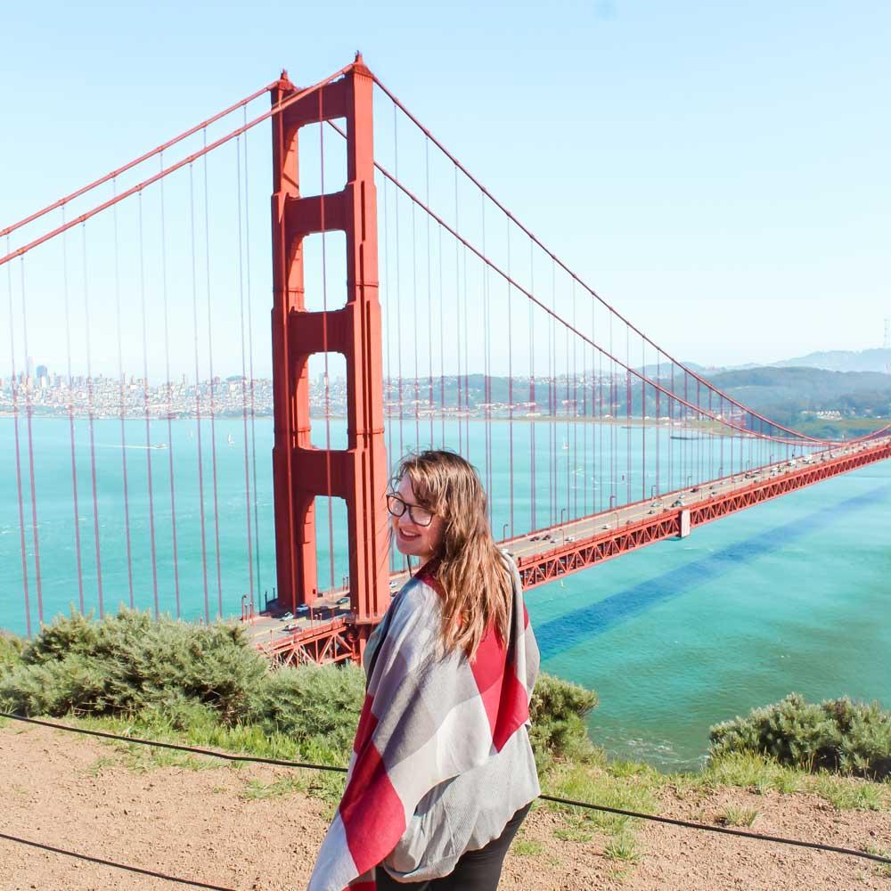 Lia in front of the Golden Gate Bridge in San Francisco, California.