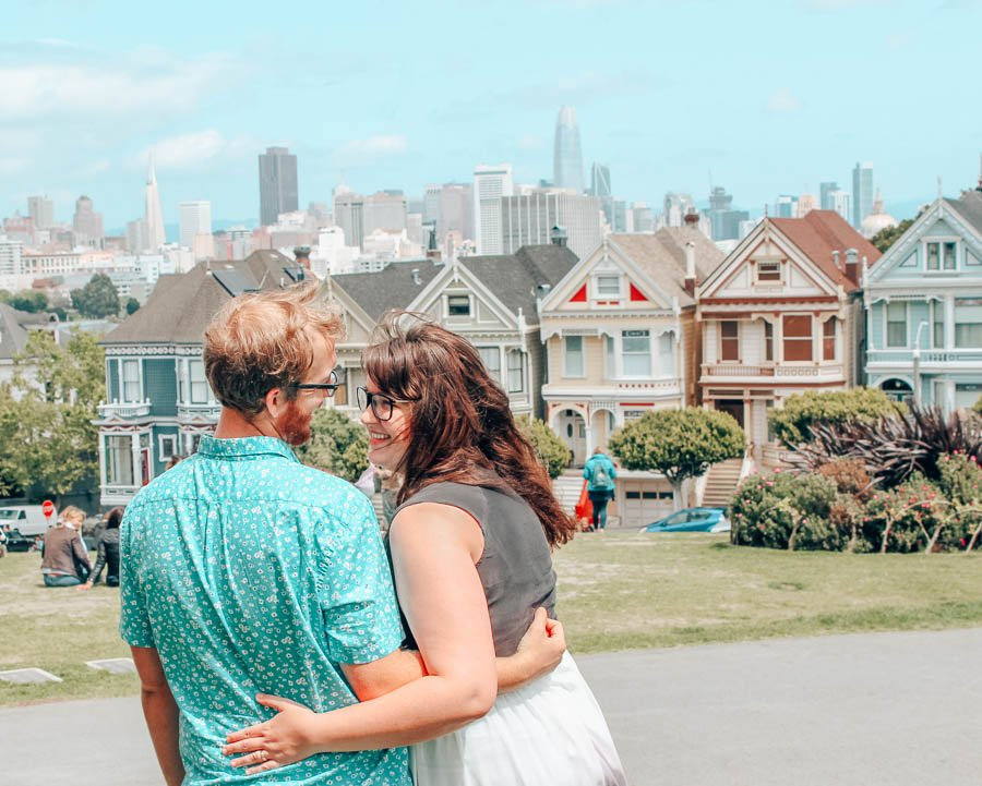 The famous Painted Ladies on Alamo Square in San Francisco, California.