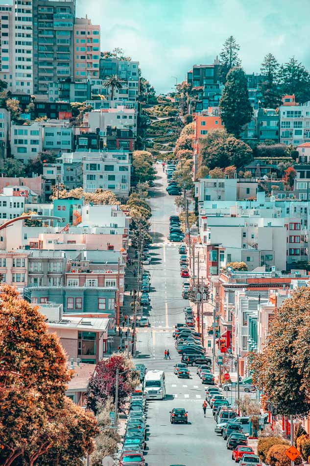 Notoriously curvy Lombard Street in  San Francisco, California.