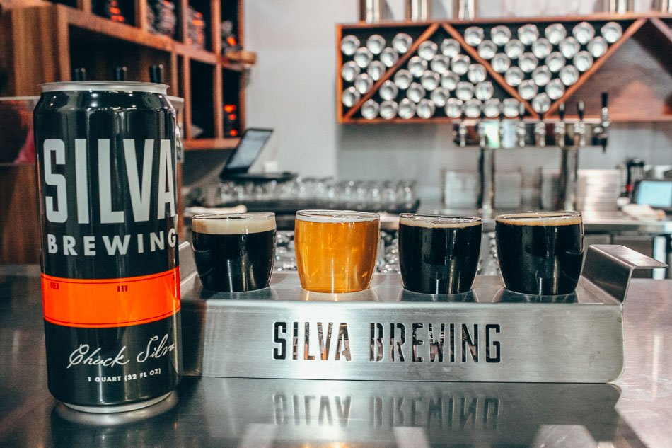 Beer flight at Silva Brewing in Paso Robles, California.
