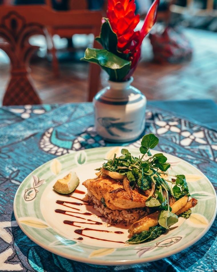 Fish dinner at Mama's Fish House in Maui Hawaii