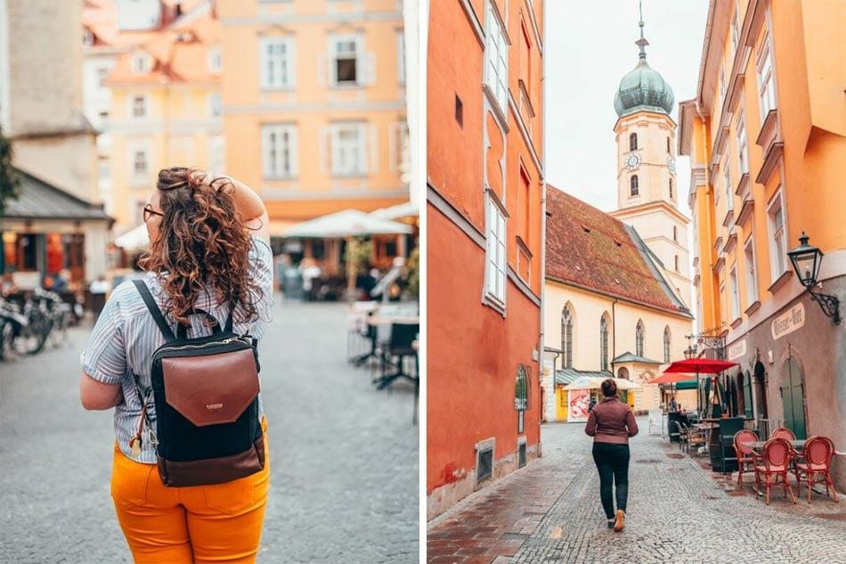 Girl walking through the streets of the Graz City Center.